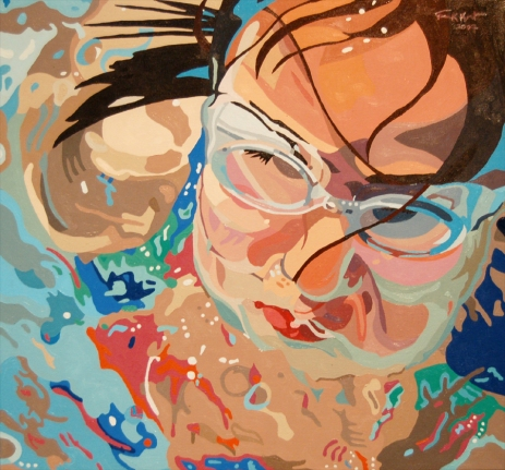 """Big Splash (Jessica),"" Oil on Canvas, 24"" x 25 1/2"", $1840"