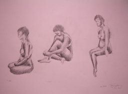 Small Group of 3 Linear Nude Figures