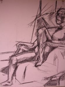 Seated Nude - Geometric Planes