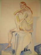 seated nude blue ground