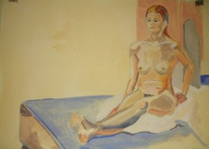 seated nude on platform