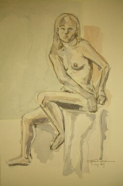 seated nude simple ground