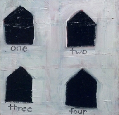 """""""Four Houses,"""" 10"""" x 10"""", $350"""