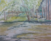 """On the Fox River, Waterford, WI,"" Watercolor on Paper, $100"