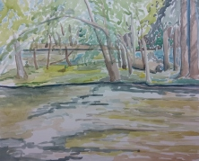 """On the Fox Rive, Waterford, WI,"" Watercolor on Paper, $100"