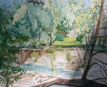 """""""Off the Path,"""" Watercolor on Paper, $100"""