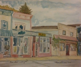 "SOLD - Main Street, Waterford,"" Watercolor on Paper, $100"