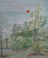 """SOLD - """"Red Sunset,"""" Watercolor on Paper, $100"""