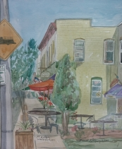 "SOLD - ""1st and Main, Waterford, WI,"" Watercolor on Paper, $100"
