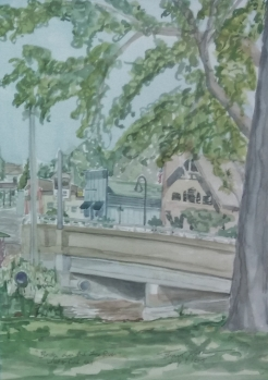 "SOLD - ""Bridge Over the Fox River, Waterford, WI,"" Watercolor on Paper, $100"