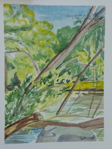 """""""Fox River, Waterford"""" Watercolor on Paper."""