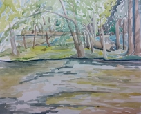 """Fox River Waterford"" Watercolor on Paper."