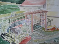 "SOLD - ""Bisher Backyard,"" Watercolor on Paper"