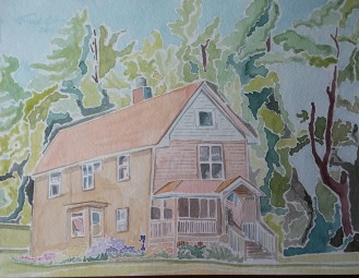"SOLD - ""Bisher Home,"" Watercolor on Paper"