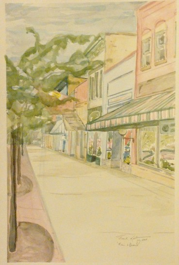 """Main and Broad,"" Lake Geneva, WI, Watercolor on Paper, 18"" x 12"", $150"