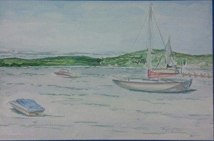 """SOLD - """"Looking West over Geneva Lake."""" 12"""" x 18"""", watercolor on paper, $150."""