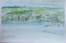 """""""Water's Edge,"""" Geneva Lake, 12"""" x 18"""", watercolor on paper, $150."""