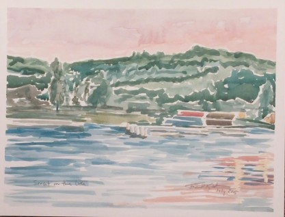 """Sunset on Lake Geneva,"" 9"" x 12"", watercolor on paper, $100."