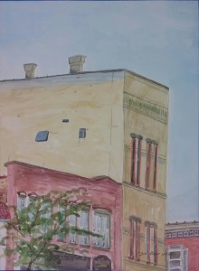 """3rd Floor View,"" 12"" x 9"", Watercolor on Paper, $100"