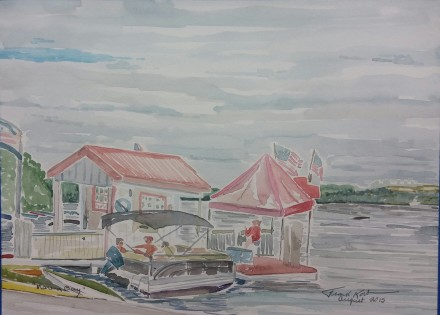 "SOLD - ""Marina Bay,"" Watercolor on Paper, 9"" x 12"""