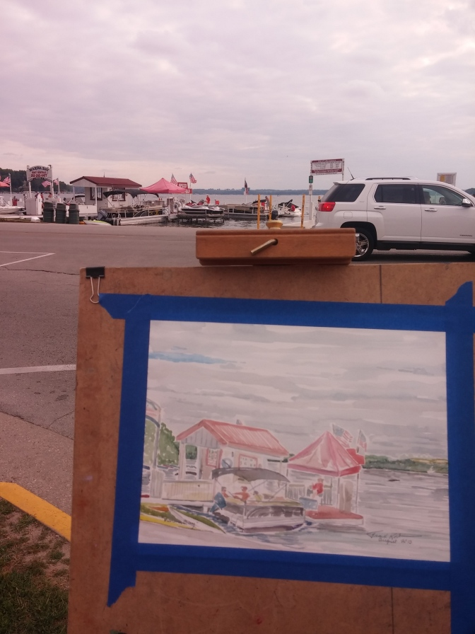 Painting near the Boat Launch in Lake Geneva - Marina Bay!