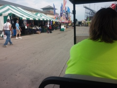 Getting our fancy ride into the fair. Thanks fairgrounds crew!