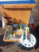Here's my easel! Dry - but it was a WET day!