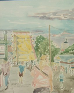 """SOLD - """"If We Get Separated, Meet at the Giant Slide,"""" Watercolor on Paper, $325 at the WI State Fair Expo Building - 2015."""