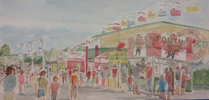 """SOLD - """"Duke's Quebec Style Poutin,"""" 12"""" x 24"""", Watercolor on Paper"""