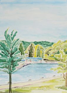 "SOLD - ""Bay in Geneva Lake, Lake Geneva, WI"" Watercolor on Paper"