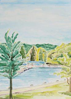 """SOLD - """"Bay in Geneva Lake, Lake Geneva, WI"""" Watercolor on Paper"""