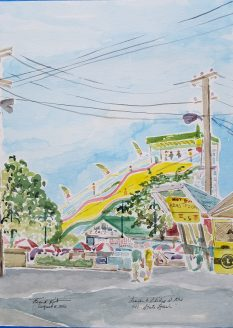 """Lunch and Slides at the WI State Fair"" Watercolor on Paper."