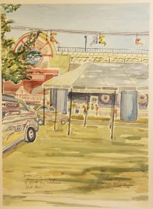 """Jesse Says No Rain and a High of 85 at the Wisconsin State Fair"" Watercolor on Paper."