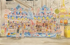 """""""Novelties at the WI State Fair"""" Watercolor on Paper."""