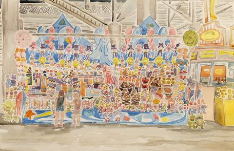 """Novelties at the WI State Fair"" Watercolor on Paper."