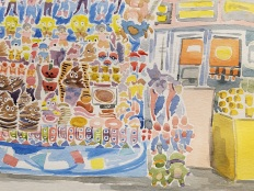 "Detail of ""Novelties at the WI State Fair"" Watercolor on Paper."