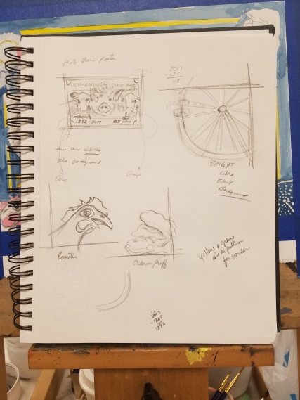 Preliminary sketches for the FAIRtastic Art Contest at the WI State Fair - Drawings