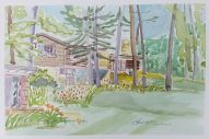 """Effi's Place - The Engineer's Cottage"" Frank Korb, Watercolor on Paper, June 29, 2017, Collection of Effi Casey."