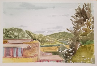 """A Young Girl's Balcony at Taliesin"", Frank Korb, Watercolor on Paper, June 29, 2017"