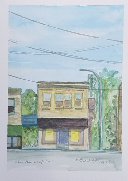 """Main Street Waterford"" Watercolor on Paper, 2017."