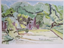 """""""Rose's Perch at Wadewitz"""" Frank Korb, Watercolor on Paper, July 5, 2017."""