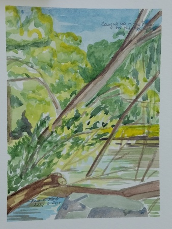 """""""Fox River in Waterford, WI"""" Watercolor on Paper."""