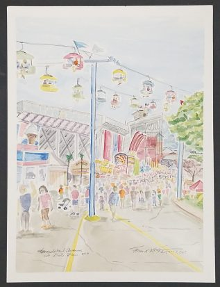 """""""Grandstand Avenue, WI State Fair"""" Watercolor on Paper."""