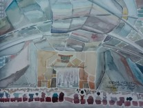 """Idena Menzel at Millennium Park"" Watercolor on Paper, 5"" x 8"""