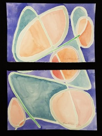 """I Am Particularly Glad I and II"" Watercolor on Paper, 6"" x 8"" each."