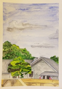 """Above the Fox River Dam, Waterford, WI"" Watercolor on Paper."