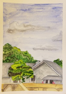 """""""Above the Fox River Dam, Waterford, WI"""" Watercolor on Paper."""