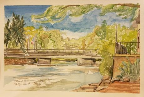 """Main Street Bridge, Waterford, WI"" Watercolor on Paper."