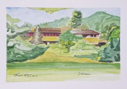 """""""Taliesin in the Morning"""" Watercolor on Paper."""