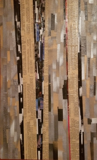 """""""They're Just Rigid Frames"""", 25 1/2"""" x 15 1/2"""", Collage on Masonite, 2016."""